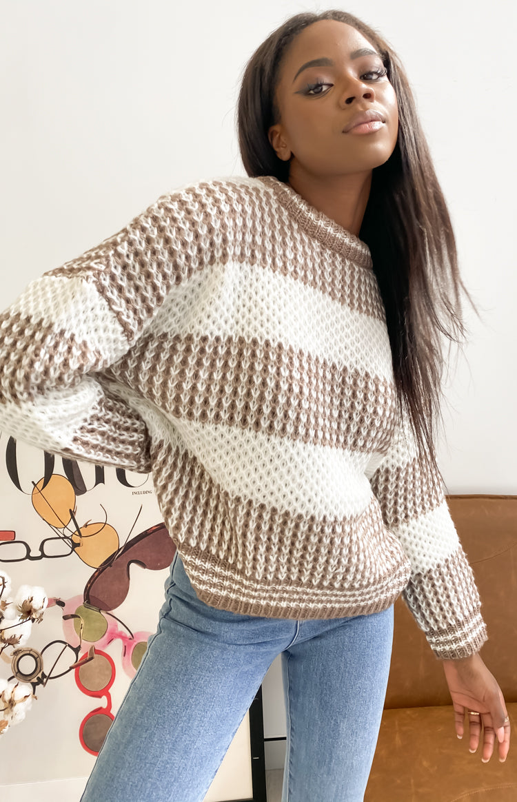East Break Jumper Beige Stripe
