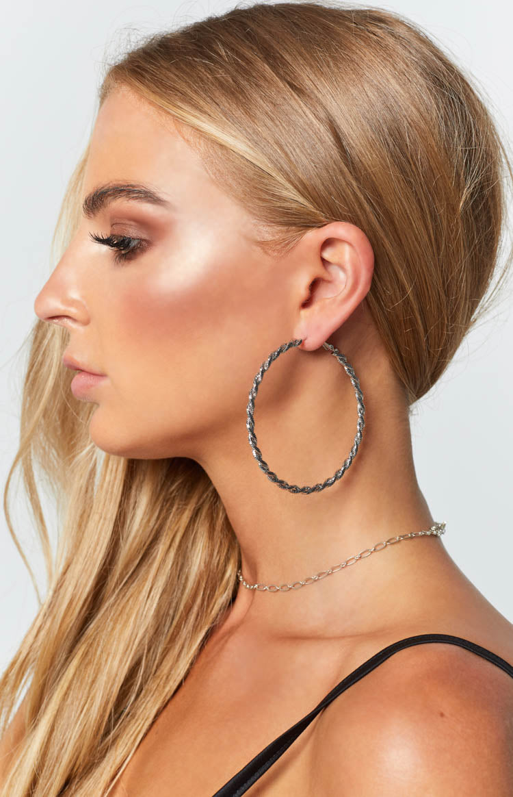 Eclat Kiya Twisted Hoop Earrings Silver