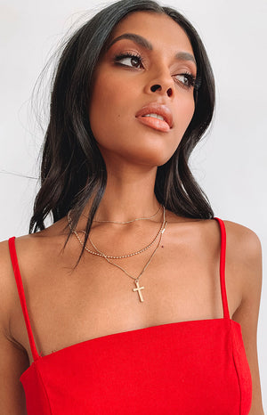Eclat Sophia Layered Cross Necklace Gold