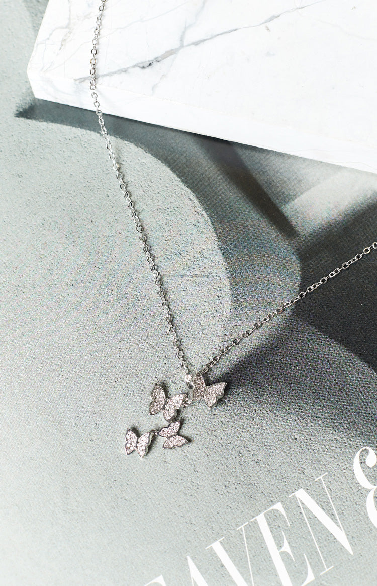 Eclat Alcon Blue Butterfly Necklace Silver