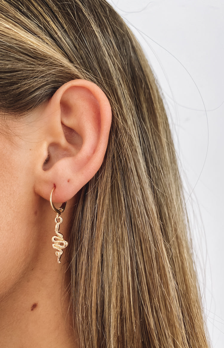 Eclat Elapid Snake Earrings Gold