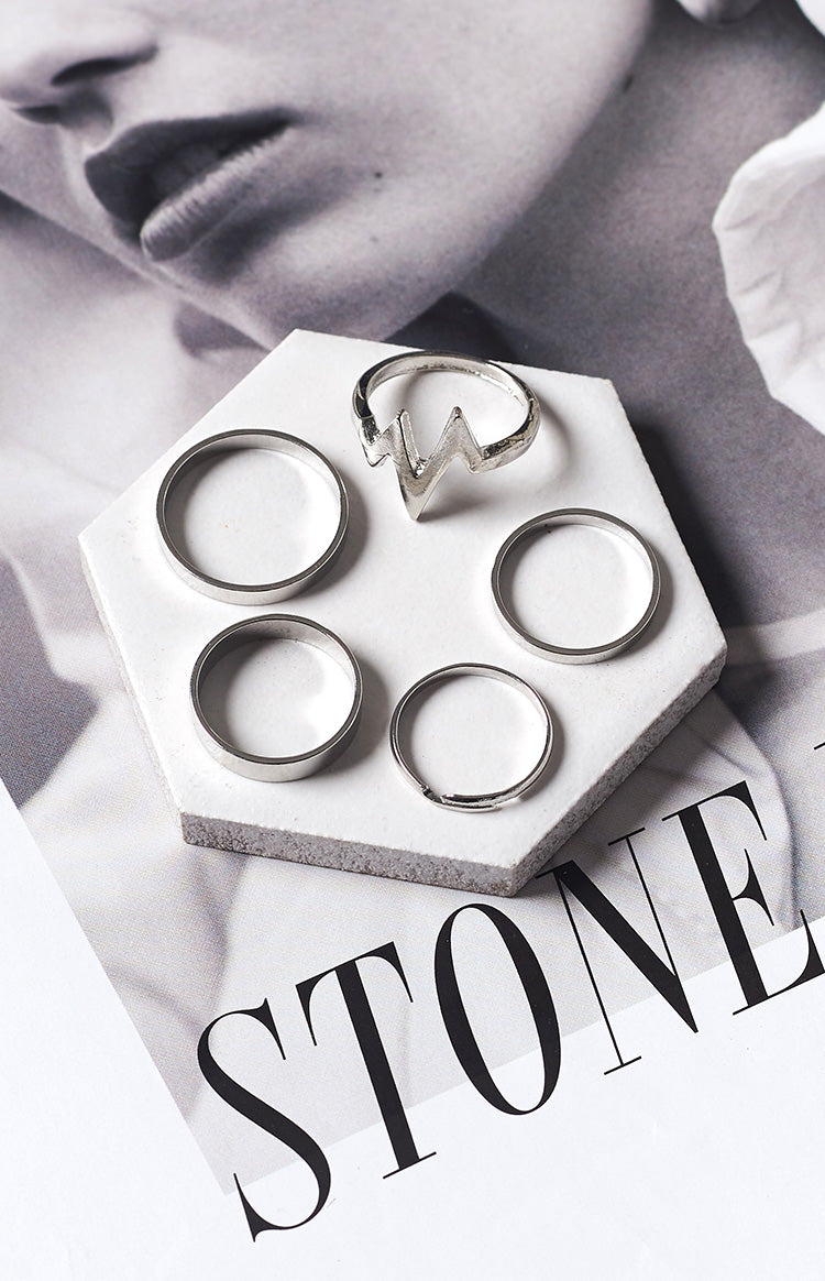 Eclat Classica 5 Piece Ring Set Silver
