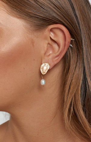 Eclat Emilio Pearl Earrings Gold