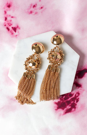 Eclat Empress Party Tassel Earrings Gold