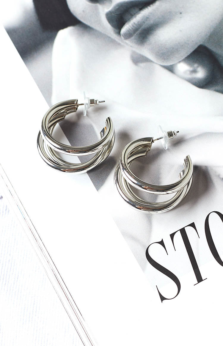 Eclat Irresistible Hoop Earrings Silver