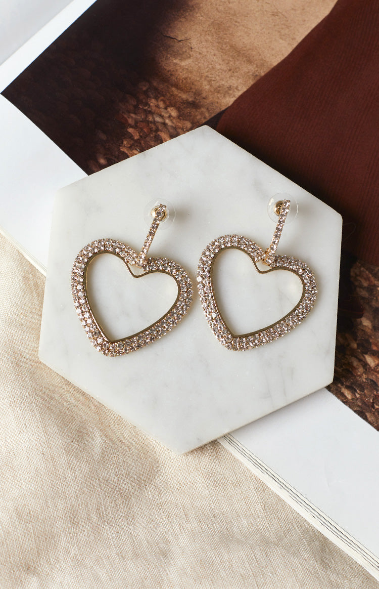 Eclat Philia Rhinestone Hoop Earrings Gold