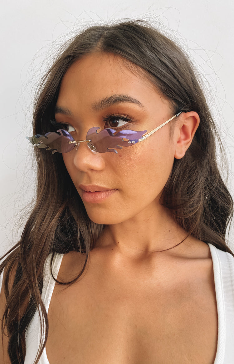 Eclat Accelerate Festival Flame Sunglasses Purple and Gold