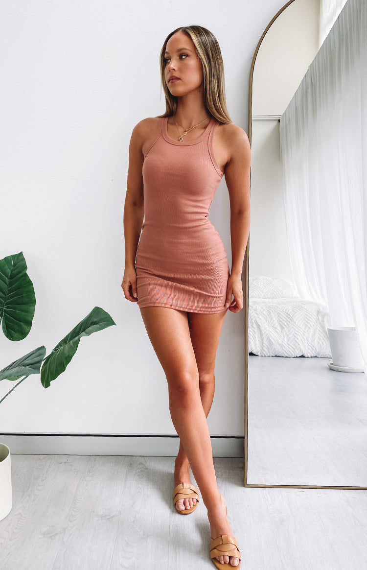 Eliza Ribbed Dress Rust