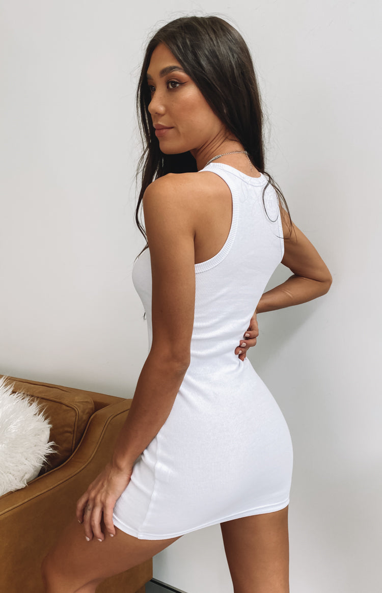Eliza Ribbed Dress White