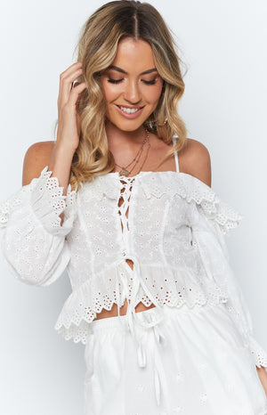 Floral Fields Top White