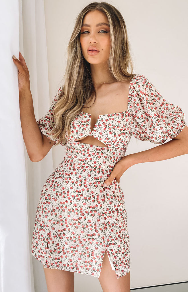 Florence Puff Sleeve Mini Dress Floral 4 6 8 10 12 14 16