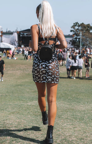 Groovin' Festival Dress Silver and Black