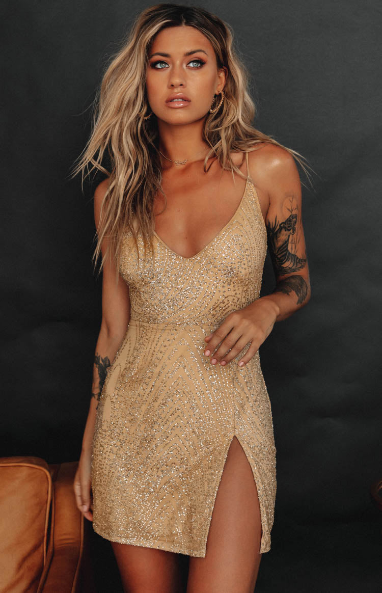 Hakkasan Glitter Party Mini Dress Gold