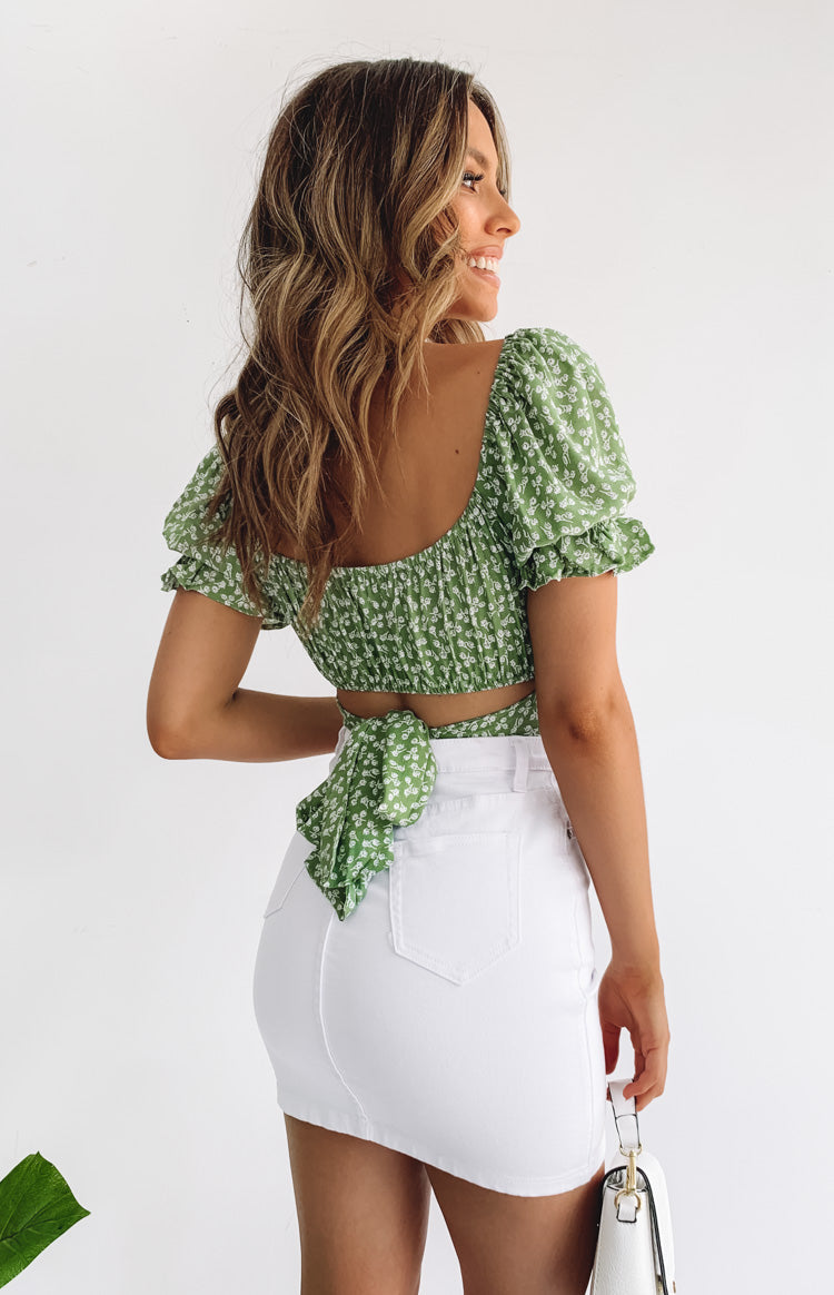 Heritage Wrap Top Green Print