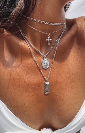 Eclat Hallelujah Layered Necklace Silver