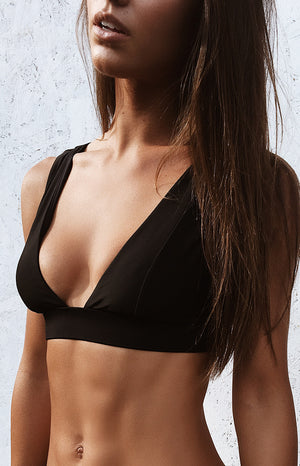 9.0 Swim Byron Bikini Top Metallic Black