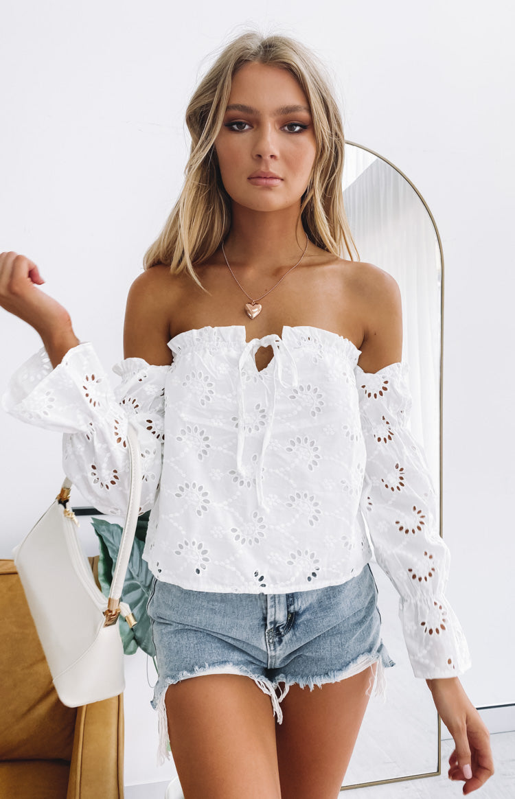 SNDYS Holly Lace Top White