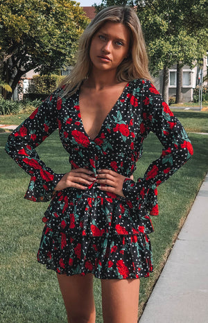 Amore Dress Black Rose Print
