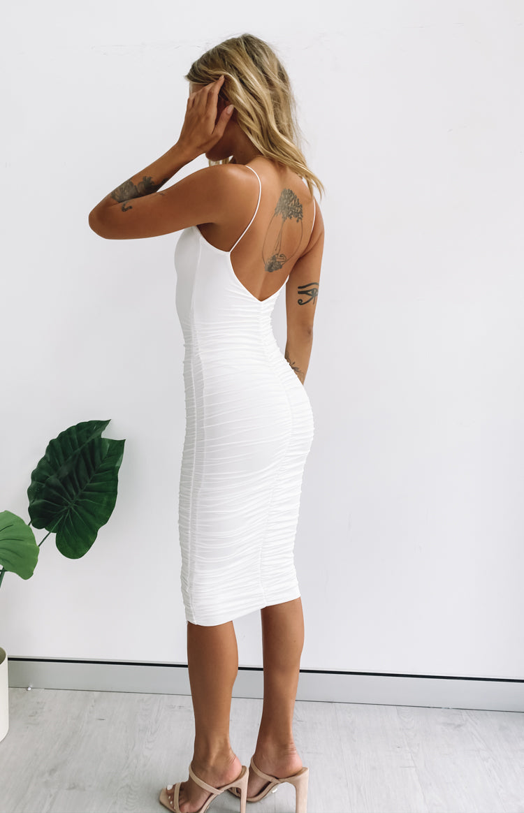 I'm All In Ruched Midi Party Dress White