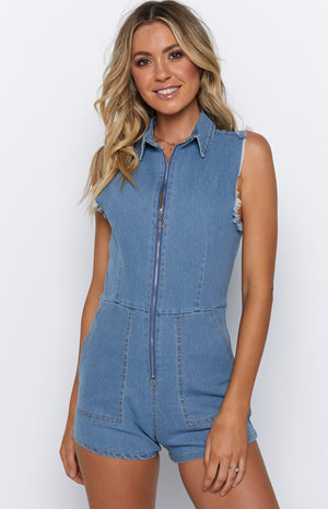 Isaka Playsuit Denim Blue