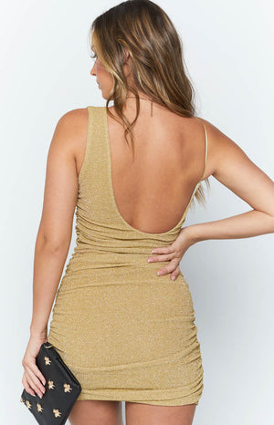 Just Add Bubbles Mini Dress Champagne Lurex