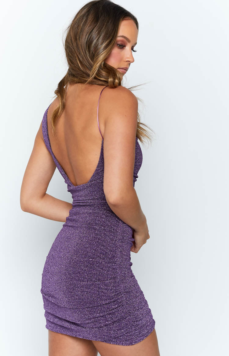 Just Add Bubbles Mini Dress Purple Lurex