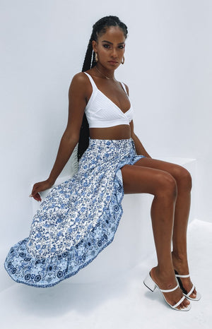 Justice Wrap Skirt Blue Print