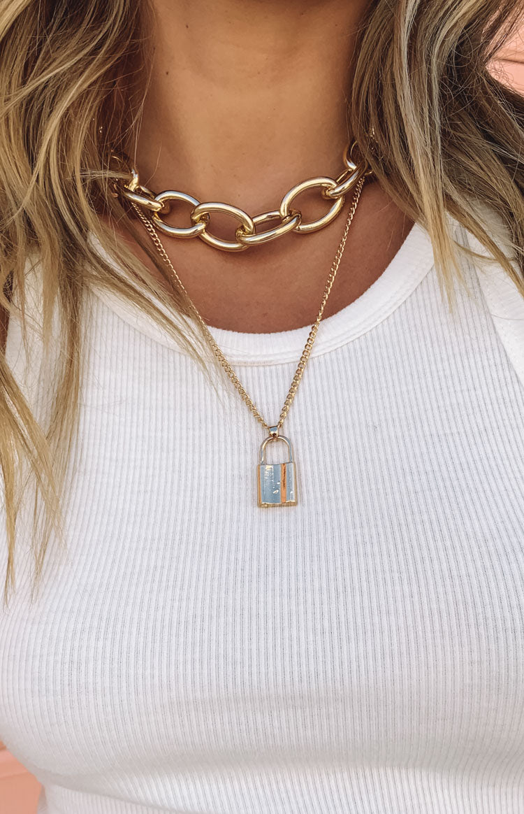 Eclat Katherina Lock Necklace Gold
