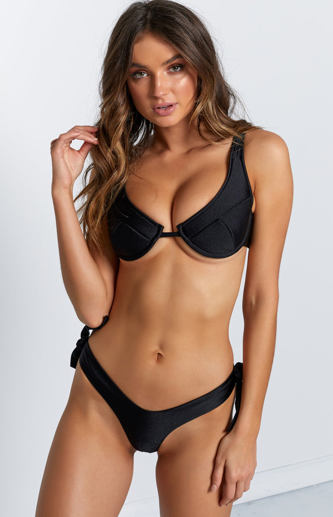9.0 Swim Kitten Tie Bikini Bottoms Metallic Black