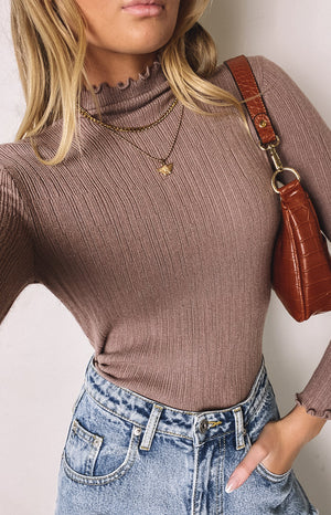 LA Frill Neck Knit Top Camel