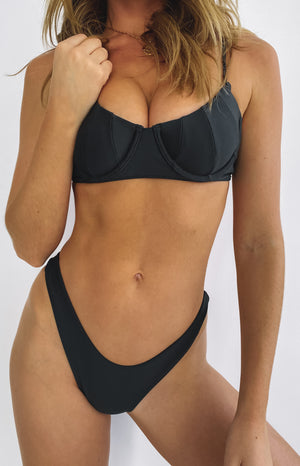 Lahana Swim Helena Panelled Bra Cup Bikini Top Black
