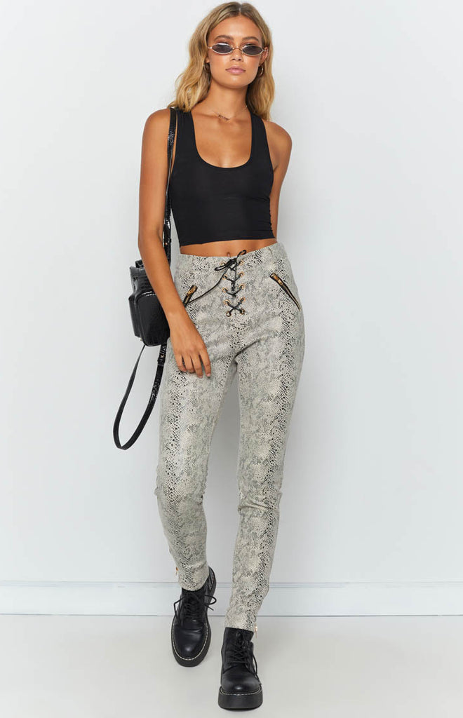 57f5f016 Lace Up Cobra Pants Snake Print – Beginning Boutique