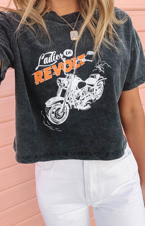 Ladies In Revolt Cropped Tee Black Acid Wash