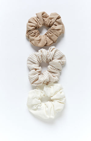 Eclat Lady Of Linen Scrunchies Natural