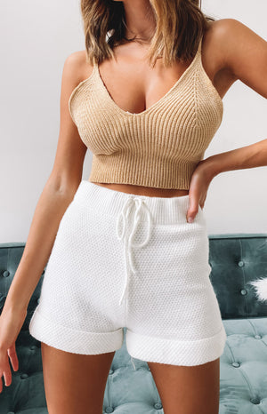 Little Birds Knit Crop Beige