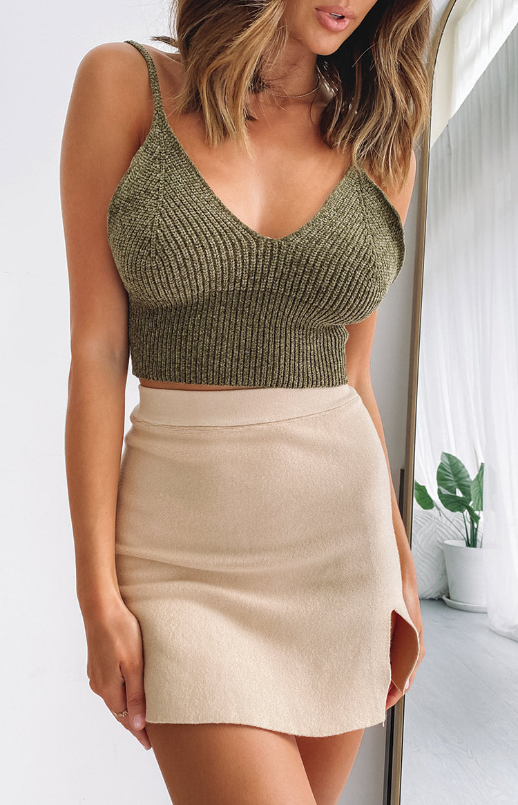 Little Birds Knit Crop Khaki