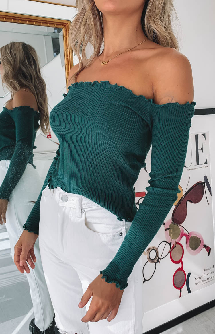 Lorraine Off Shoulder Knit Green