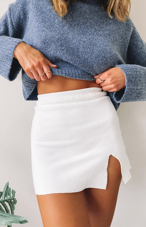 Lovely Day Knit Skirt White