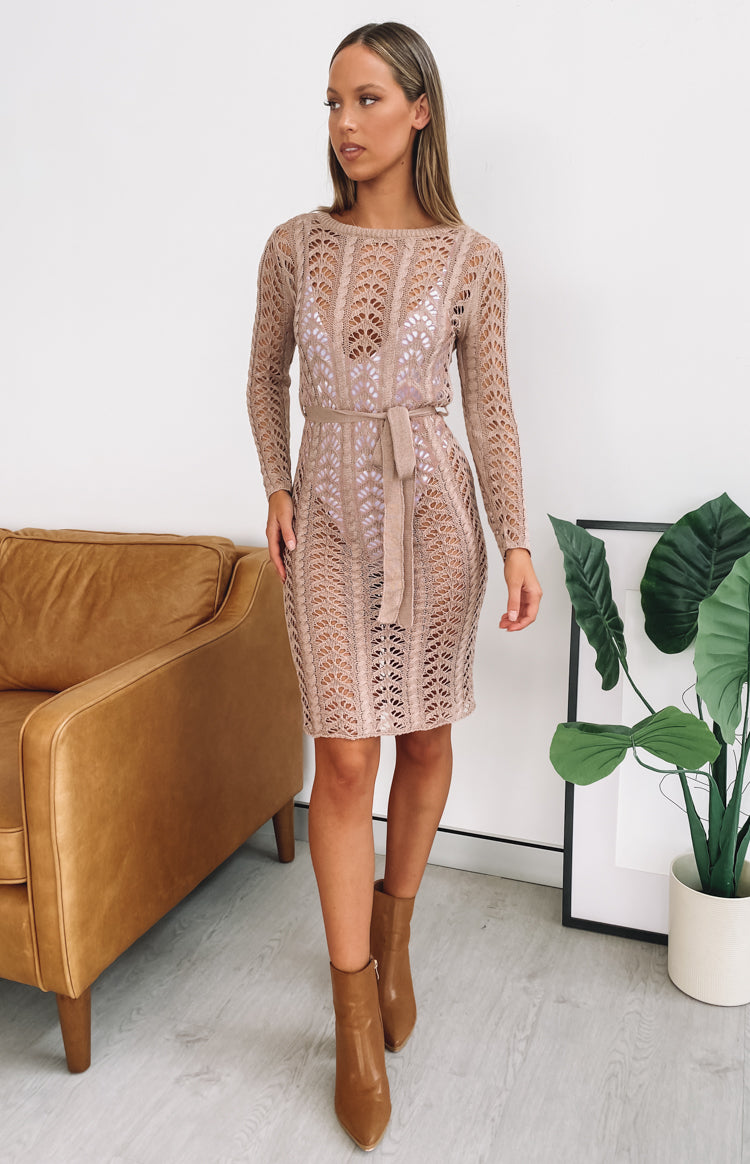 Maluku Crochet Midi Dress Mocha