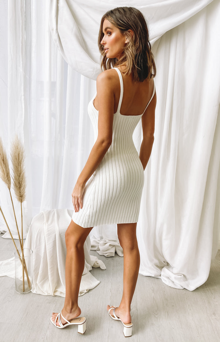 Marcie Ribbed Midi Dress Cream