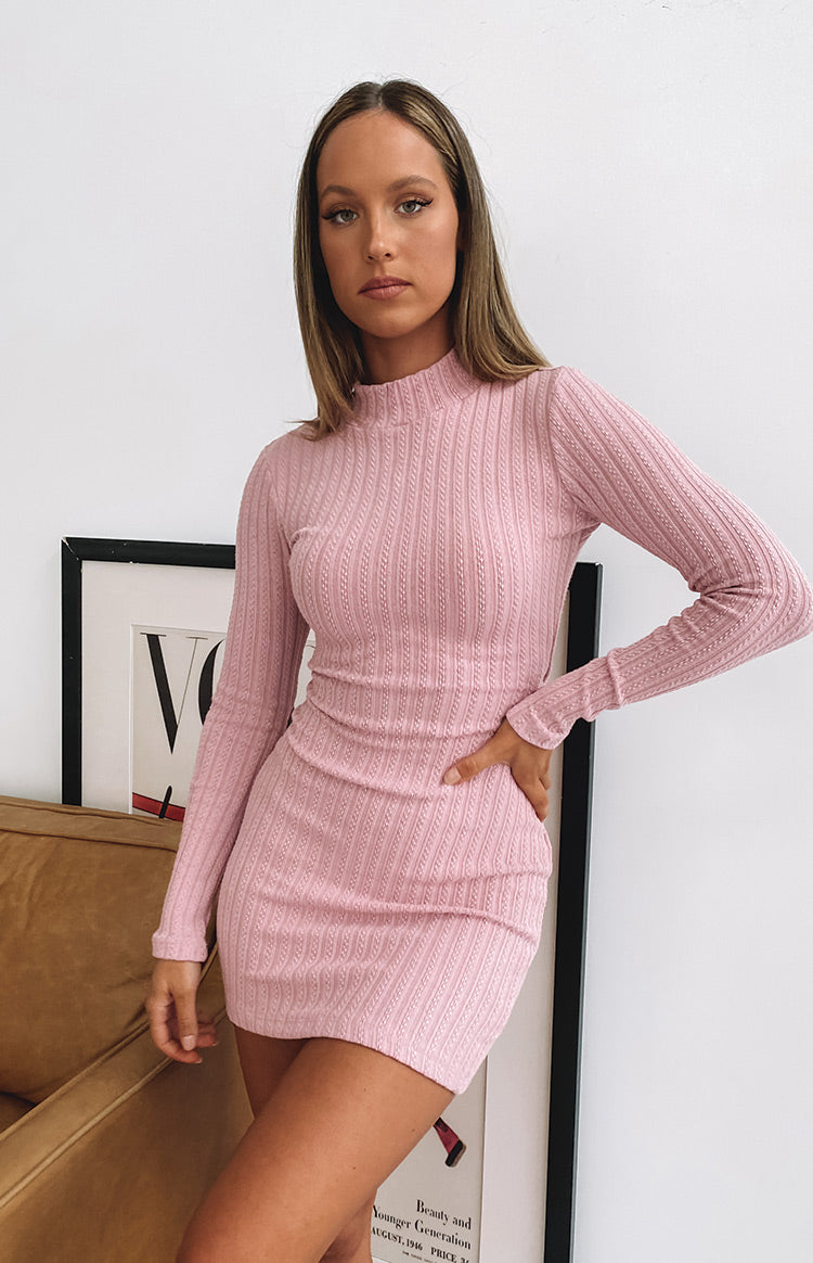 Mary Jean Long Sleeve Knit Dress Pink