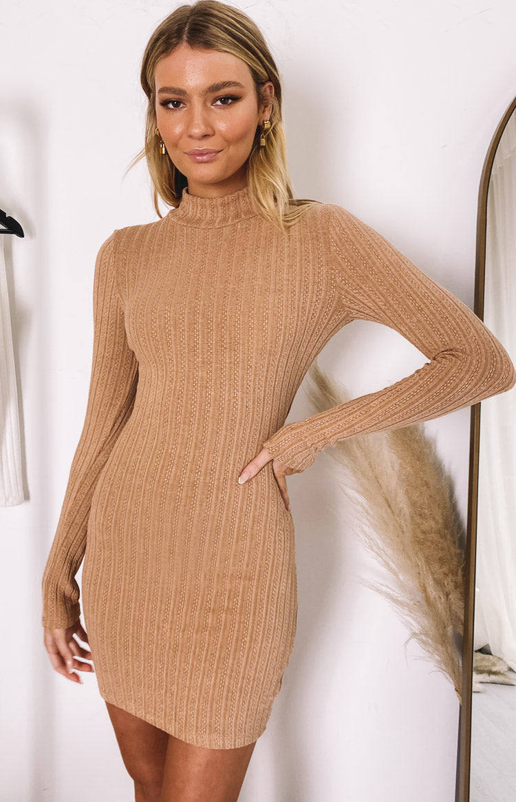 Mary Jean Long Sleeve Knit Dress Tan