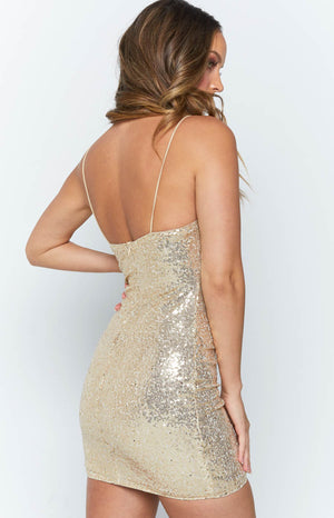 Midnight Kiss Dress Gold