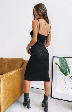 Monroe Bodycon Midi Dress Black