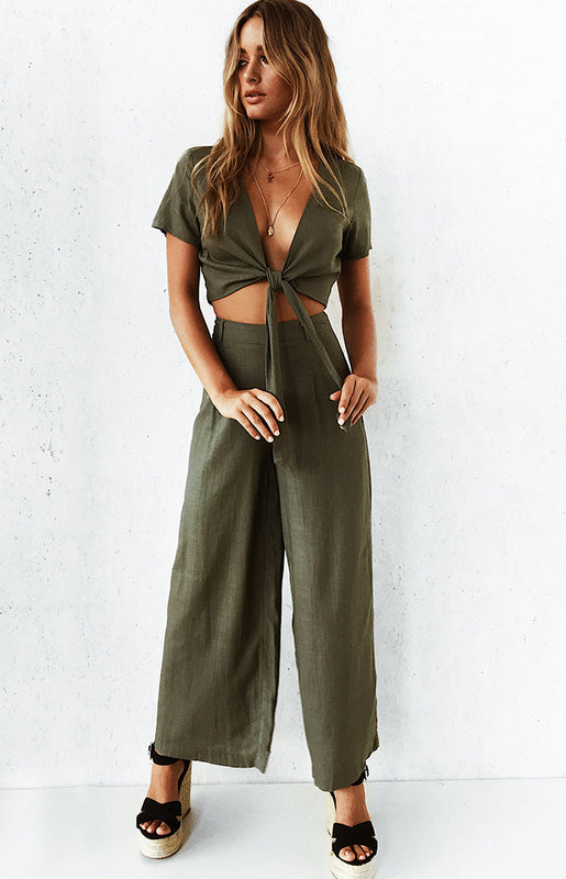 Ava High Waist Pants Khaki