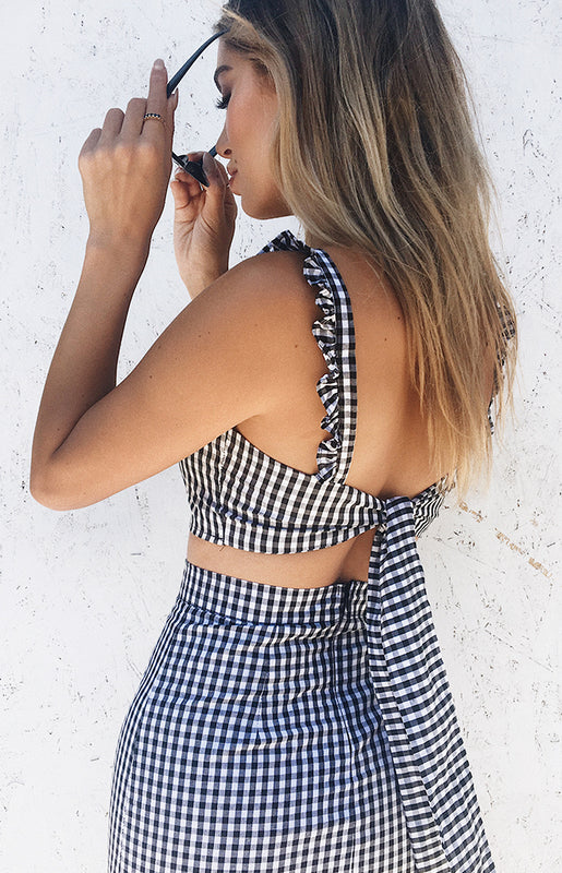 Gale Crop Black Gingham