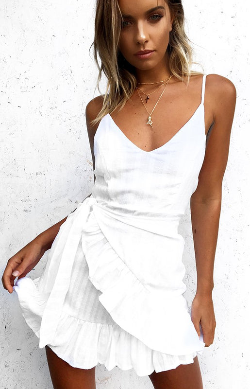 Misguided White Ruffle Party Dress