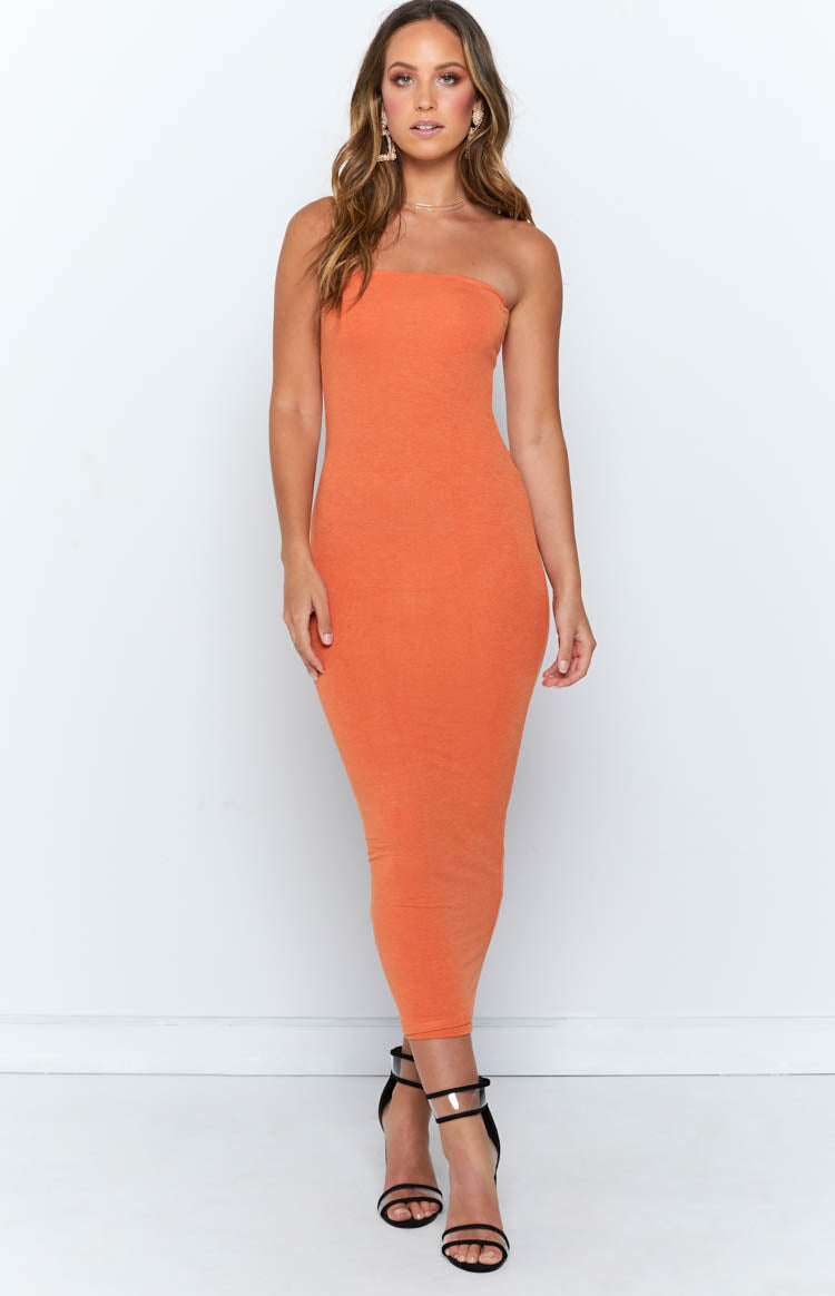 Nicki Strapless Dress Orange