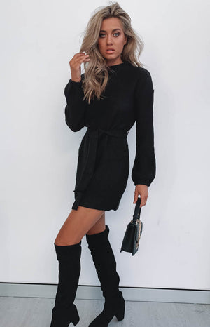 Nostalgia Sweater Dress Black