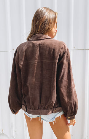 Jacey Cord Jacket Chocolate